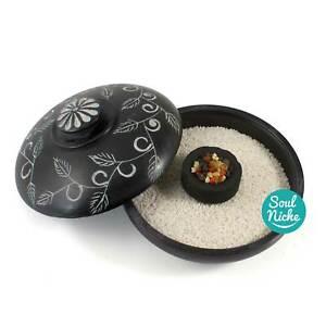 Black Soapstone Charcoal Incense Burner Bowl Censer for Resin Incense w/ Lid