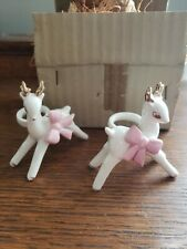 Napco Japan Reindeer W/ Pink Bows Candle Climber Huggers, New Old Stock, rare!