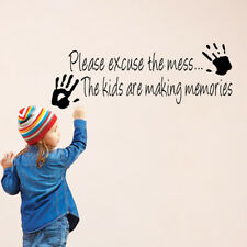 Wall Sticker Please Excuse The Mess Playroom Quotes PVC Black With Small Hands