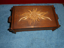 BLACK FOREST WOOD BOX HANDMADE IN BERCHTESGADEN GERMANY Carved WOOD FLOWER TOP