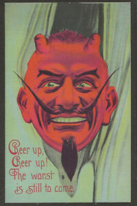 Interesting Devil Postcard Cheer up Cheer up The Worst is yet to Come Halloween