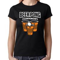 BEER PONG Championships Party Retro Bier Comedy Lustig Spaß Damen Girlie T-Shirt