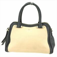 Kate Spade Hand bag Beige Black leather Woman Authentic Used E1313