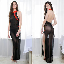 Sexy Lingerie Nightgown Black Sleepwear Night Dressing Long Dress G-String Set