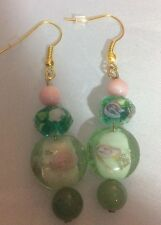 NWOT Handmade Pierced Earrings Goldtone Green and Pink Glass