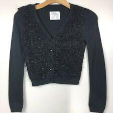 Justice 8 Girls Cardigan Sweater Black Shaggy Metallic Dressy Button Up V-Neck