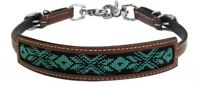 Showman MEDIUM OIL Leather Wither Strap W/ TEAL & BLACK Beaded Inlay! NEW TACK!