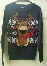 Maglione maglioncino natalizio nordico montagna Terranova renna blu taglia XS/S