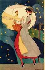Riproduzione Cartolina Donne e Moda del 1918 Italia Postina