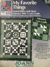 JoAnn Fabrics My Favorite Things Quilt Block of the Month February 1999