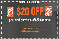 ONE 1x Home Depot Coupon $20 OFF $200 ONLINE-USE-ONLY-- lNSTANT DELIVERY-NOW~~~~