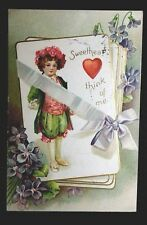 Vintage Valentine Post Card  SWEETHEART THINK OF ME Victorian Boy Flower Crown