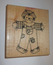 """Chester Scarecrow Rubber Stamp Fall Thanksgiving D.O.T.S. Wood Mounted 4.5"""" High"""