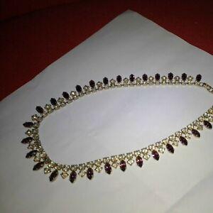 Vintage Gold Metal purple Rhinestone Diamante Choker/ Necklace/Pendant 1980'