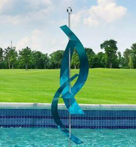 MASSIVE 8 FEET TALL! Metal Sculpture Abstract Aqua Blue Indoor Outdoor Jon Allen