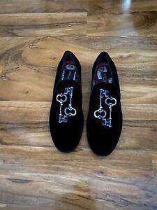 Mens Dolce & Gabbana Black Velvet Loafer Shoes Size 8-8.5 U.K.