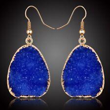 Natural Blue Quartz Gold Druzy Stone Dangle Drop Earrings Triangle Rock