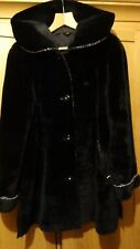 Real sheepskin fur winter black coat UK size 16 18 20 in very good condition
