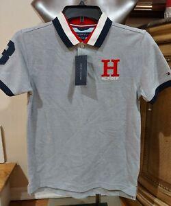 Tommy Hilfiger Boys Short Sleeve Matt Polo Shirt Size L Grey HT NWT
