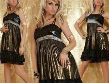SeXy Miss Glamour Pailleten Glanz Chiffon Kleid 34/36/38 metallic gold schwarz