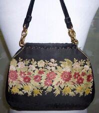 """bienen-davis Ungar Black Vintage Handbag Floral Velvet 7"""" x 10"""" Gold Hdwr"""