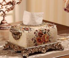 Decorative Ceramic Tissue Box Vintage Design Flower Pattern Use For Home Display