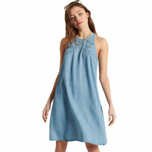 Superdry Embroidery Sleeveless Dress - Light Wash, W8010737A - BNWT