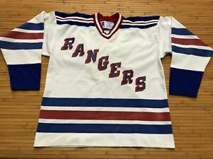 MENS LARGE - Vtg 80s New York Rangers #8 Russell Athletic Print Sewn Jersey USA