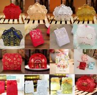 50PCS Candy Boxes Wedding Party Decor Pretty Favor Ribbon Gift Wedding Party