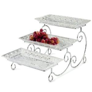 3 Tier Rectangular Food Dessert Cake Server Platter Display Tray Stand Godinger