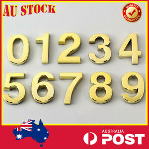 Golden Plaque House Number Door Address 3D Digits Numeral Sticker Sign Mailbox