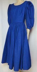 Laura Ashley Abendkleid 40 42 blau Hochzeit Cocktail vintage Puffärmel