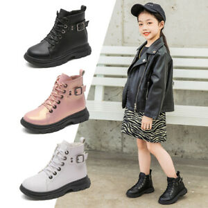 Child Kids Girls Fur Lined Buckle Lace Up Zip PU Leather Ankle Snow Boots Shoes