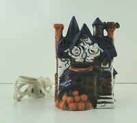 Vintage Lighted Haunted House Ceramic Mummies Pumpkin Size: 4 1/4 x 3 1/4 x 3