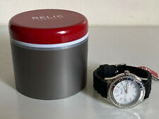 RELIC ZOOEY MOTHER OF PEARL W/CRYSTALS DIAL BLACK RUBBER STRAP WATCH ZR11904 $65