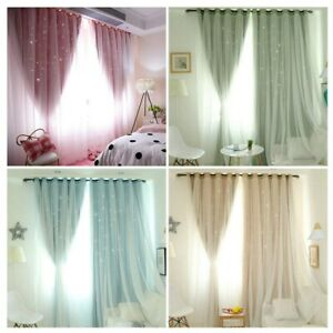 STAR BLOCKOUT EYELET CURTAINS Double Layer Bridal Lace PINK BLUE GREY princess