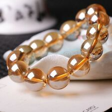 12mm Natural Champagne Citrine Quartz Crystal Round Beads Stretch Bracelet 7.5''