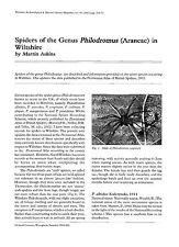 Spiders of the Genus Philodromus (Araneae) in Wiltshire .