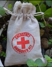 5 Hangover Survival Kits - Party, Favour, Hen, Stag Do. Quality Rustic Linen Bag