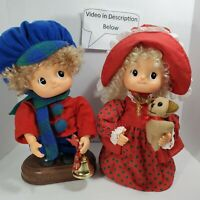 2 Vintage Telco Small Fry Christmas Child animated kid motionette plush doll