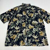 Pierre Cardin Button Up Shirt Mens XXL Black Floral Hawaiian Short Sleeve Casual