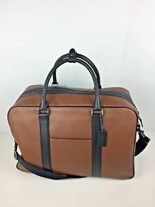 COACH F27614 Soft Suitcase Carry On Overnight Bag Men's Leather Saddle Black NWT