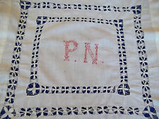 Antique Monogram Initials P N Turkey Red Embroidery Drawn Work Pillow Cover