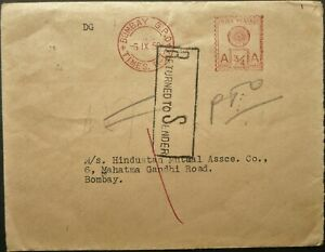 INDIA 6 SEP 1950 METER RATE COVER SENT WITHIN BOMBAY - RETURNED TO SENDER