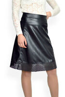 Casual Office Lined A-Line Black Faux Leather skirt UK 8 10 12 14 16 18 20 22