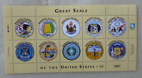 2016 MARSHALL ISLANDS GREAT SEALS OF THE USA 10 STAMP SHEETLET 24.5.16