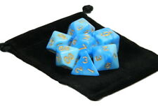 New 7 Piece Polyhedral Blend Blue Light Blue Dice Set With Dice Bag D&D RPG