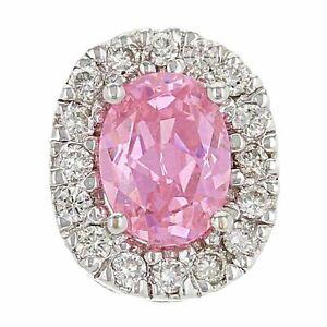14k White Gold 0.50ctw Pink Ice & Diamond Oval Floating Pendant
