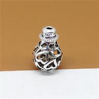 2 Sterling Silver Hollow Love Heart Guru Beads Prayer Mala Bead for Bracelet