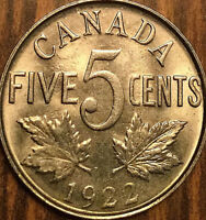 1922 CANADA 5 CENTS COIN - Lustrous Uncirculated